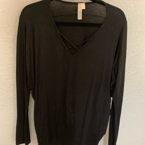 Black flowy long sleeve shirt